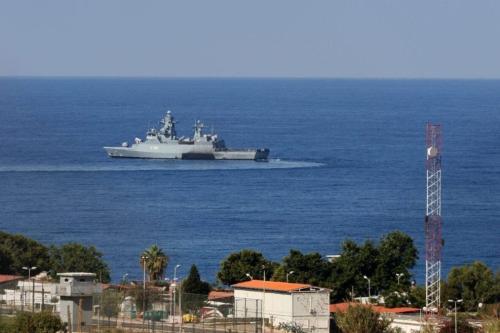 Um navio das Nações Unidas, em 14 de outubro de 2020 [Mahmoud Zayyat/AFP via Getty Images]