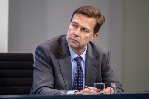 O porta-voz do governo, Steffen Seibert, em 5 de janeiro de 2021, em Berlim, Alemanha [Andreas Gora/Pool/Getty Images]