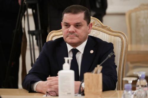O primeiro-ministro da Líbia, Abdul Hamid Dbeibeh, em Moscou, Rússia, em 15 de abril de 2021 [Ministério das Relações Exteriores da Rússia/Agência Anadolu]