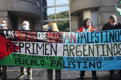 Ato na Argentina solidariedade com o povo palestino denunciam o uso das tecnologias israelenses pelo Estado argentino [Resumen Latino Americano]