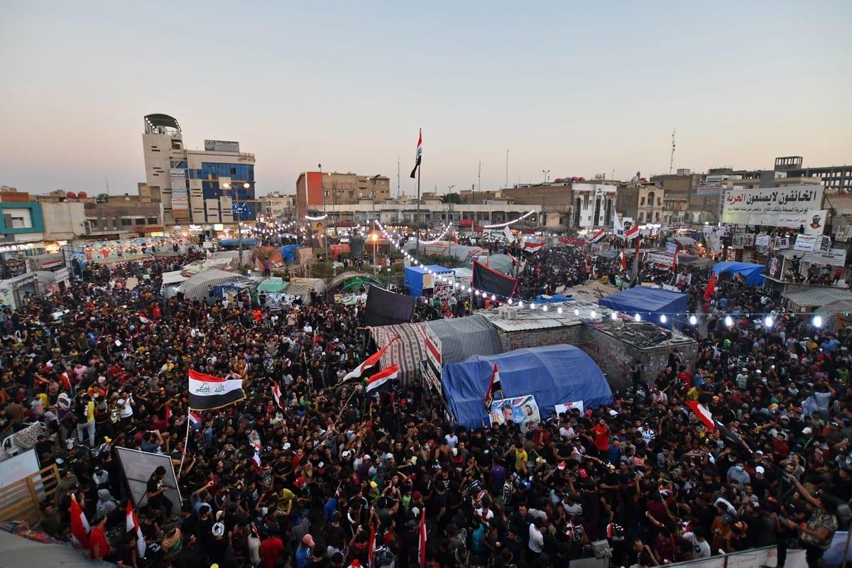 Protesto sit-in em Dhi Qar, Iraque, 25 de outubro de 2020 [Asaad Niazi/AFP/Getty Images]
