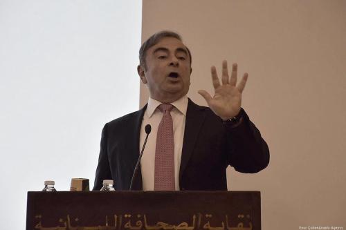 O ex-presidente da Nissan, Carlos Ghosn, fala durante uma entrevista coletiva em Beirute, no Líbano, em 8 de janeiro de 2020 [Mahmut Geldi/Agência Anadolu]
