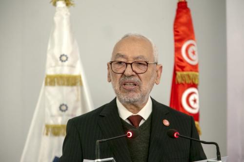 Rached Ghannouchi, presidente do parlamento tunisiano e líder do movimento Ennahda, em Túnis, Tunísia, 12 de janeiro de 2021 [Yassine Gaidi/Agência Anadolu]