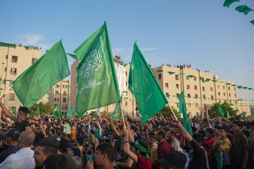 Bandeiras do Hamas em Gaza, em 30 de maio de 2021 [Ömer Ensar /Agência Anadolu]