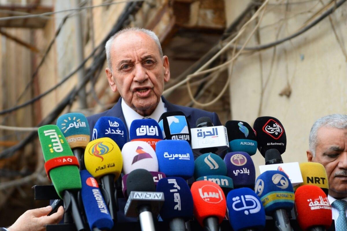 Presidente do parlamento libanês, Nabih Berri, em 1º de abril de 2019 [HAIDAR HAMDANI/AFP via Getty Images]