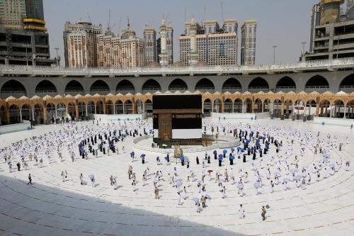Peregrinos em torno da Caaba durante o Hajj, em Meca, Arábia Saudita, 29 de julho de 2020 [STR/AFP/Getty Images]