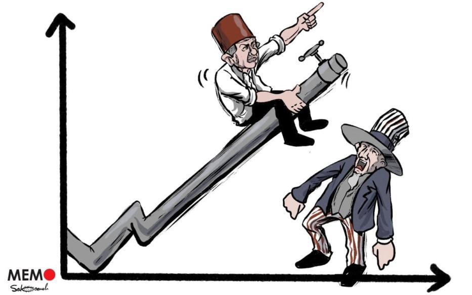 Turquia pretende se livrar dos grilhões impostos pelas importações de energia graças ao gás natural encontrado no Mar Negro - Charge [Sabaaneh/Monitor do Oriente Médio]
