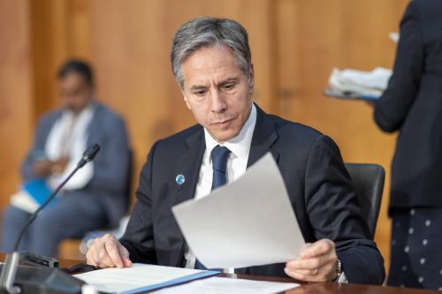 O secretário de Estado dos EUA, Antony Blinken, participa da Segunda Conferência de Berlim sobre a Líbia, em Berlim, Alemanha, em 23 de junho de 2021 [Thomas Imo/photothek.de/Pool/Agência Anadolu]
