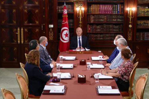 O presidente tunisiano Kais Saied se encontra com líderes sindicais em Tunis, Tunísia. Imagem capturada de vídeo em 26 de julho de 2021 [Presidência da Tunísia/Agência Anadolu]