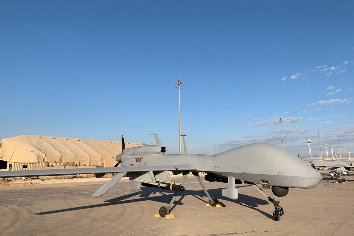 Drone militar dos Estados Unidos na base aérea de Ain al-Asad, na província de Anbar, oeste do Iraque [Ayman Henna/AFP via Getty Images]