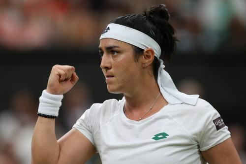 Ons Jabeur da Tunisia em uma partida de Wimbledon em Londres, Reino Unido, em 6 de julho de 2021 - Wimbledon 2021 [Clive Brunskill/Getty Images)