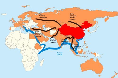Mapa com a China em vermelho, membros do Banco Asiático de Investimento em Infraestrutura em laranja, as seis rotas físicas em preto. [Wikimedia]