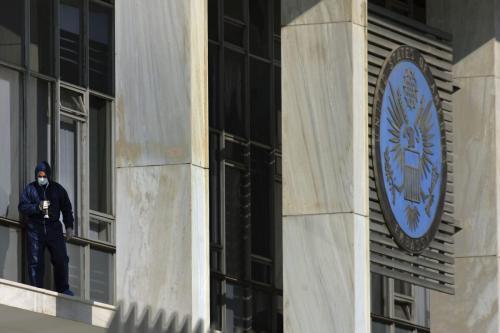 Embaixada dos Estados Unidos em Atenas, Grécia, 12 de janeiro de 2007 [Milos Bicanski/Getty Images]