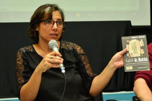 """Soraya Misleh em debate sobre seu livro """"Al Nakba – um estudo sobre a catástrofe palestina"""", em 2017"""