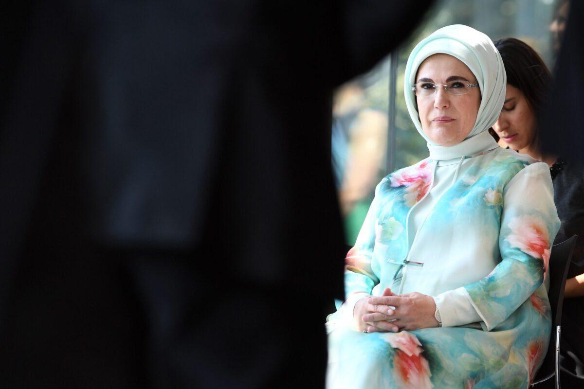 A esposa do presidente turco, Emine Erdogan, em 12 de julho de 2018 [Riccardo Paregiiani/AFP via Getty Images]