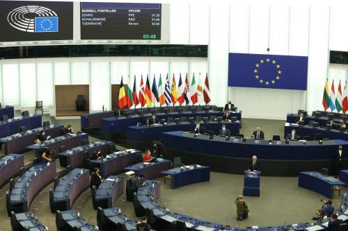 O alto representante da União Europeia para os Negócios Estrangeiros e a Política de Segurança, Josep Borrell, faz um discurso na Assembleia Geral do Parlamento Europeu, em 5 de outubro de 2021 em Bruxelas, Bélgica [Dursun Aydemir/Agência Anadolu]