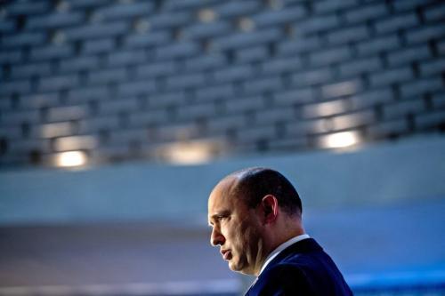 O primeiro-ministro israelense, Naftali Bennett, na cerimônia em memória dos soldados mortos na Guerra do Yom Kippur de 1973 em Jerusalém, em 19 de setembro de 2021 [Ohad Zwigenberg/POOL/AFP via Getty Images]