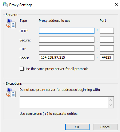 Socks Proxy Settings