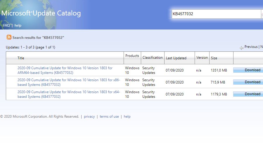 Microsoft Update Catalog Download