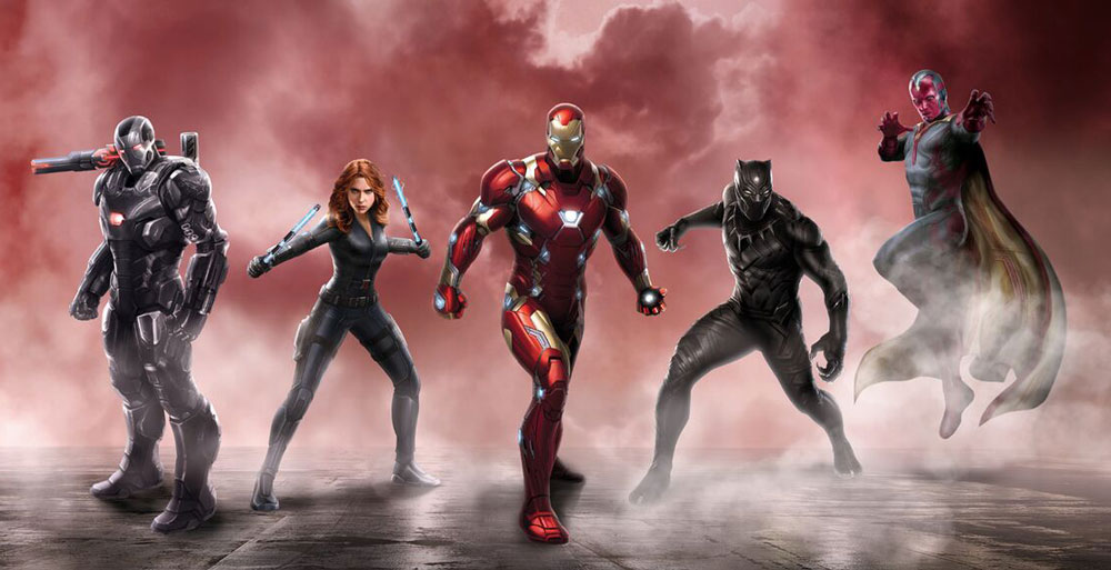 El equipo Iron Man está constituido por War Machine (Don Cheadle), Black Widow (Scarlett Johansson, el mismo Stark (Robert Downey JR), Black Panther (Chadwick Boseman) y Vision (Paul Bettany.