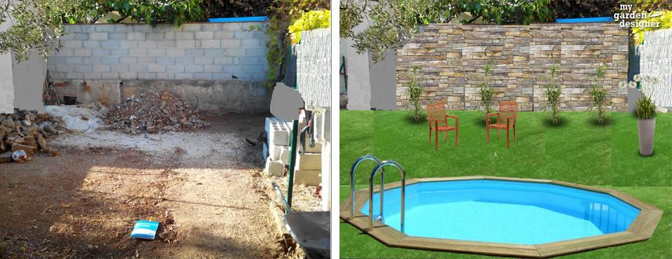Un jardin sans entretien avec piscine monjardin - Jardin sans gazon ...