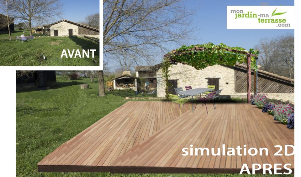 cr er une terrasse dans un jardin monjardin. Black Bedroom Furniture Sets. Home Design Ideas