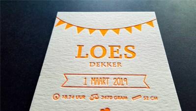 Letterpress Fluor geboortekaart