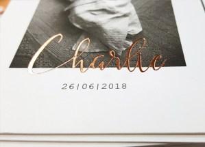 Geboortekaart met koperfolie letterpress