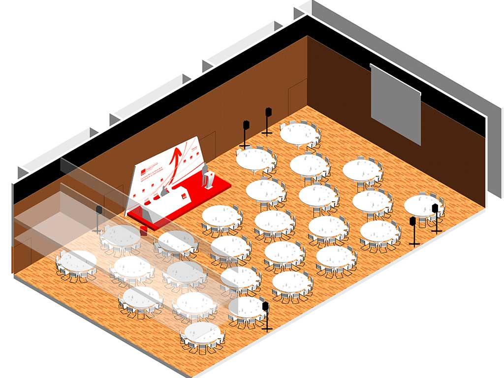 plano renderizado de colocación de los elementos del evento PAC