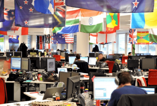 Country Flags Hanging in Office