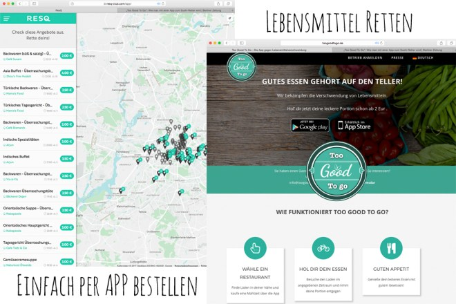 Lebensmittel retten RESQ und too good to go
