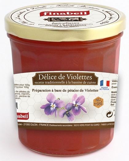 confiture delices de violettes au miel finabeil 375 gr