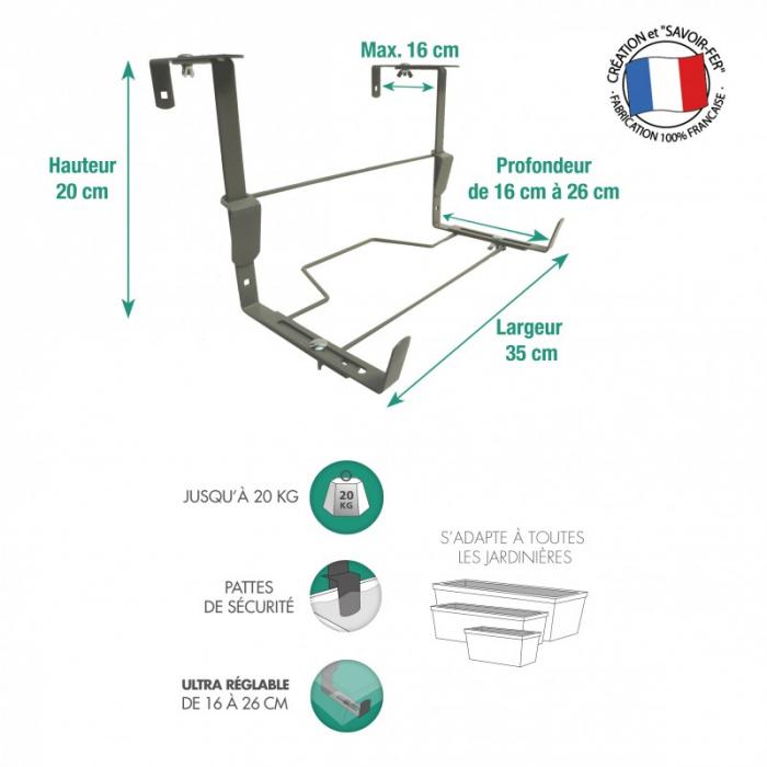 support jardiniere ergonomique louis moulin fixations reglables amovibles et adaptables gris souris pm