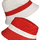 LADIES FEMMES « HAT TRICKS » réversible COTON POLKA DOT chapeau de soleil, BOB-RED