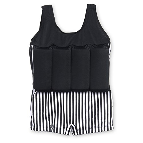 maillot de bain pour enfants avec bou e int gr e et amovible noir blanc 1 pi ce mon maillot. Black Bedroom Furniture Sets. Home Design Ideas