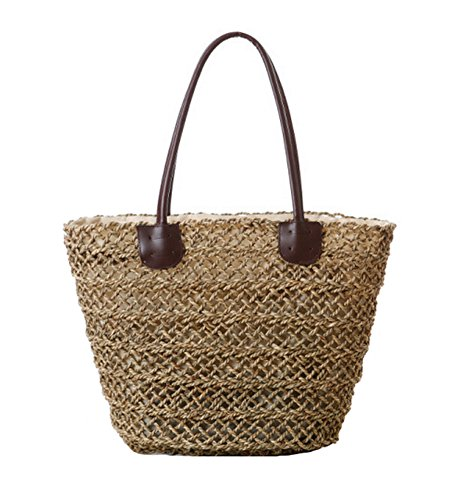 tonwhar sac cabas creux en paille tiss sac de plage mer herbe avec cordon de serrage mon. Black Bedroom Furniture Sets. Home Design Ideas