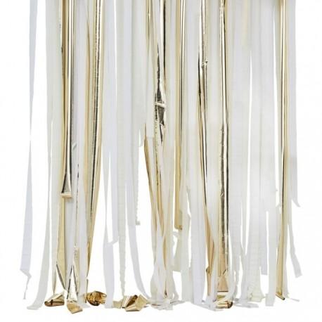 rideau a franges papier crepon blanc et or decoration de salle