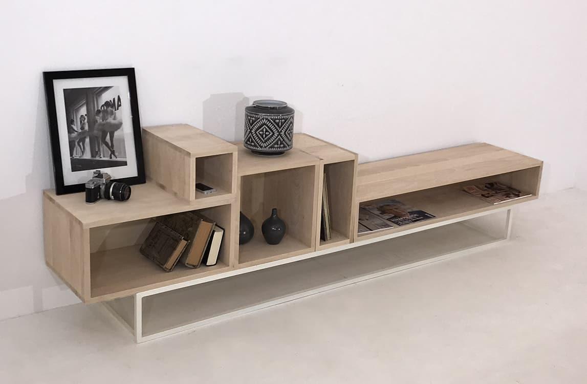 meuble tv bois destructure design sur mesure ou personnalisable