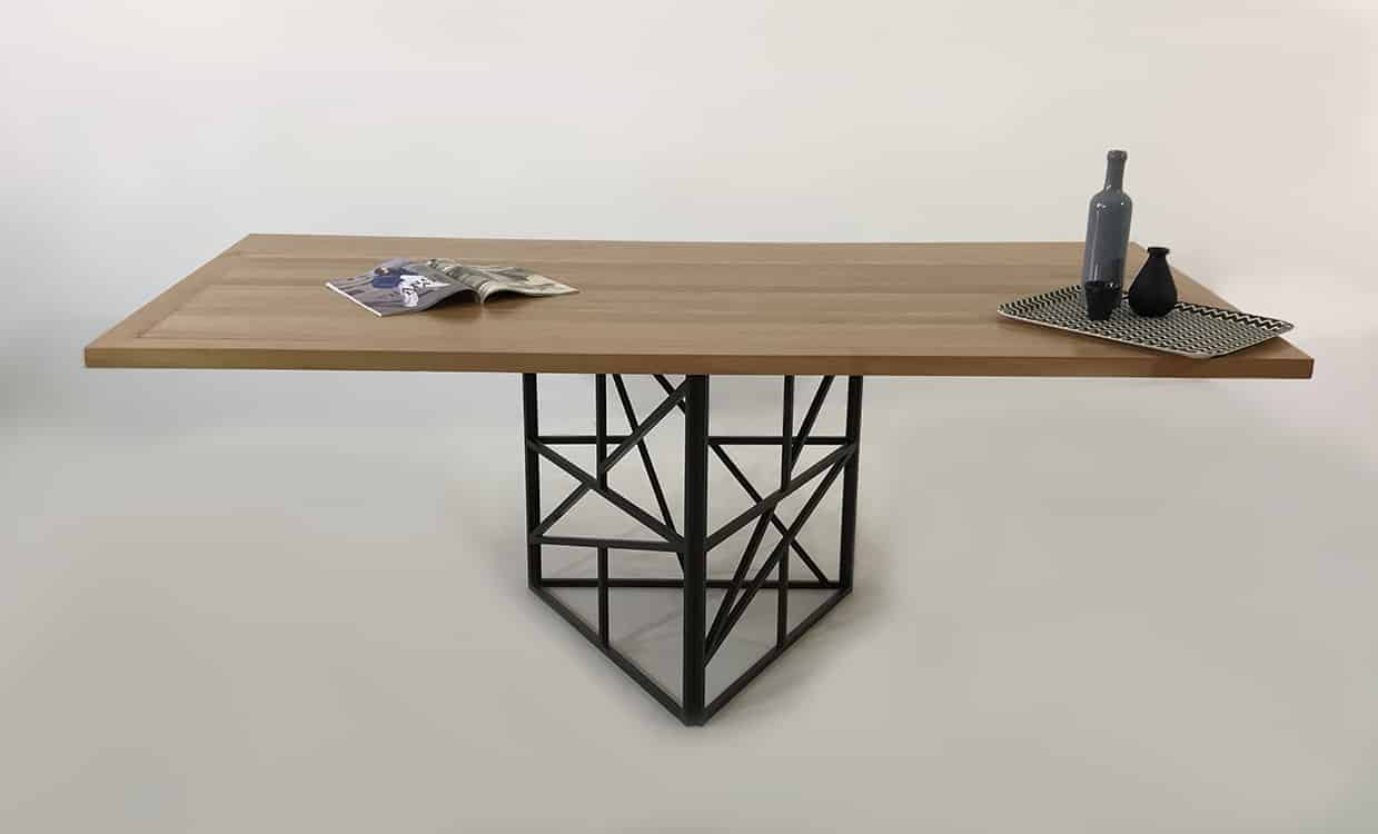 table repas bois metal cross triangle