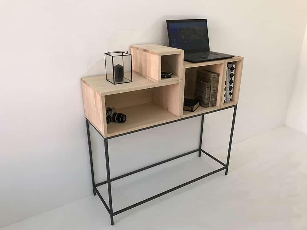 console meuble moderne bois et metal