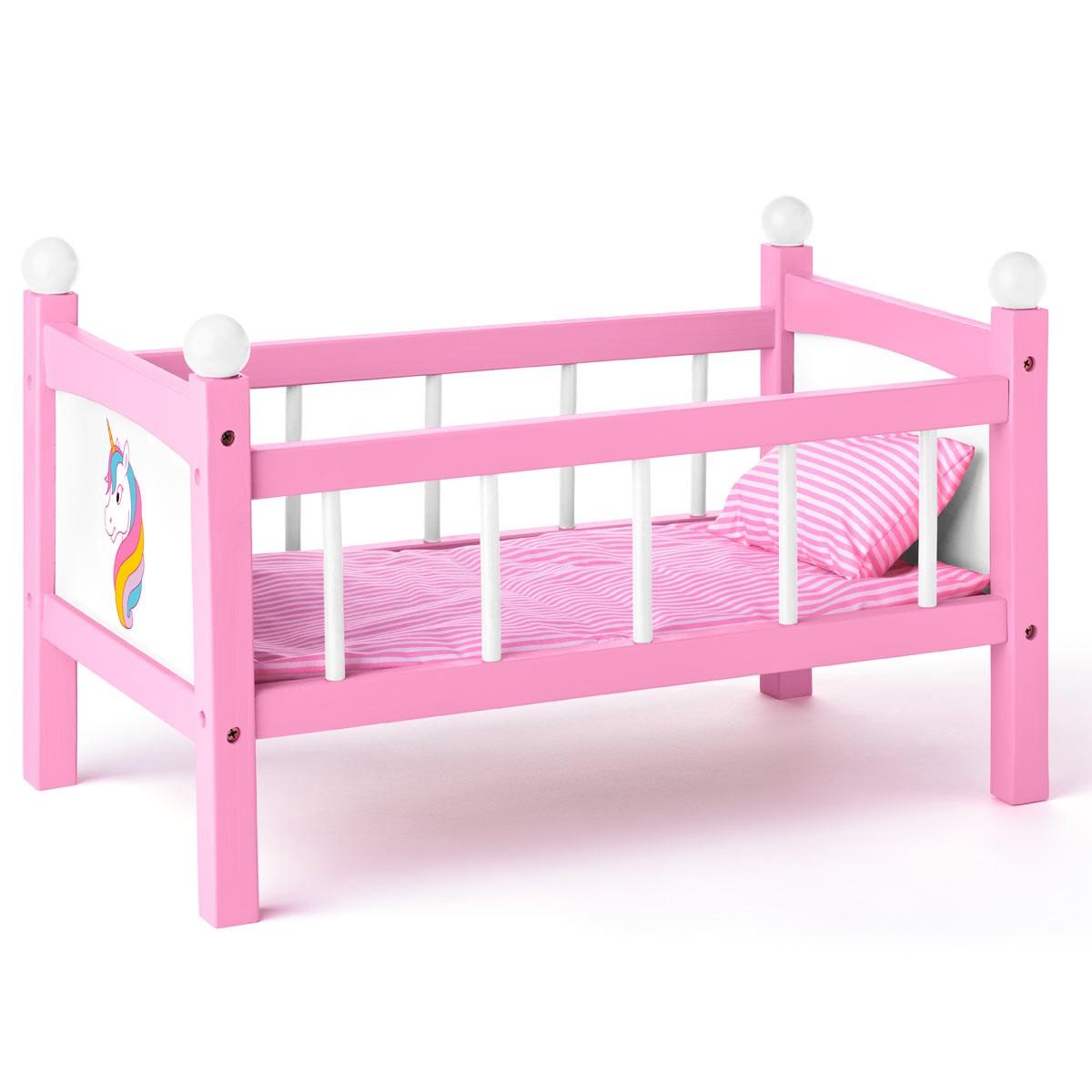 details sur dream lit de poupee licorne jouet en bois avec parure de lit