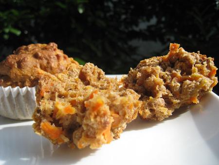 Sugar-free carrot-orange bran muffins