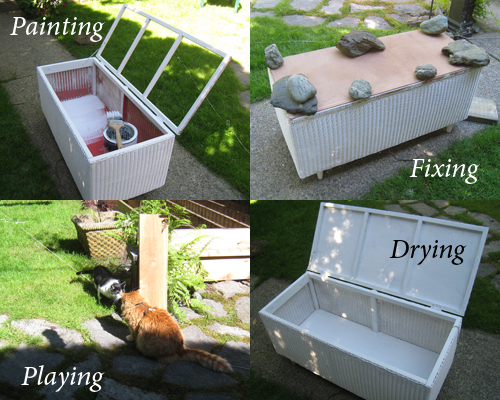 Wicker Bench Seat - rebuilding and painting