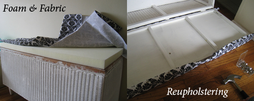 Reupholstering the wicker bench seat