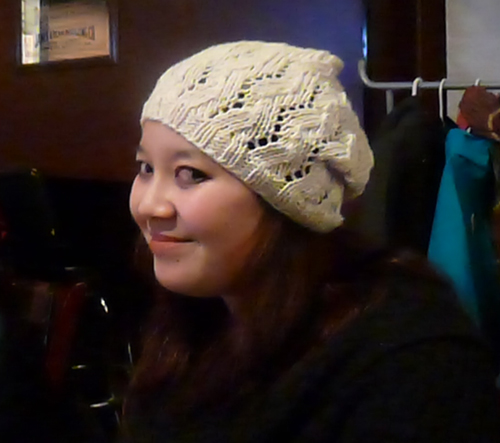 Chelle modelling the Lace Ribbon Slouch Hat I knit her