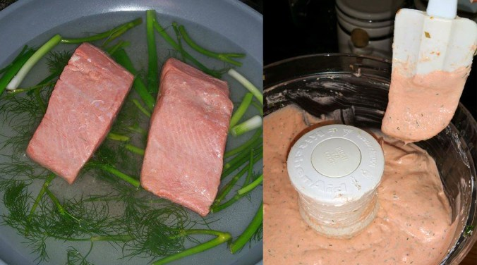 left: poaching salmon with dill and onions, right: salmon in food processor with remaining ingredients