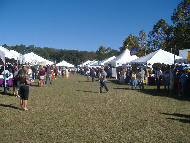 Looking down the center midway of the Autumn Wine Festival - this was the site where a lot of the action was.