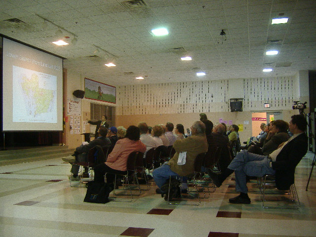 A near-capacity throng came out to Westside Intermediate School to hear talk about growth.