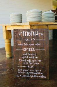 Handwritten Wood Board Wedding Menu