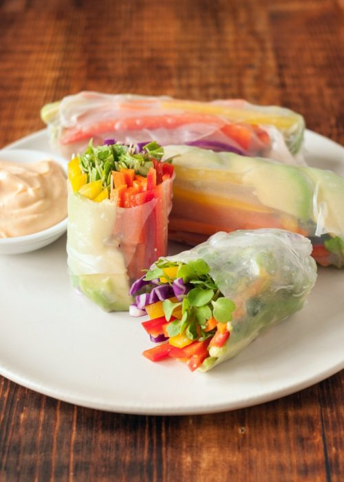 Rainbow Spring Rolls with a Peanut Dipping Sauce from the Kitchn